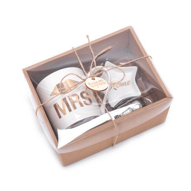 Set 3 300Cc Mug Bone China W/ Steel Tea Ball, Tea Bag Holder Mug: D8.7Xb8Xh9Cm (Mrs) image number 1