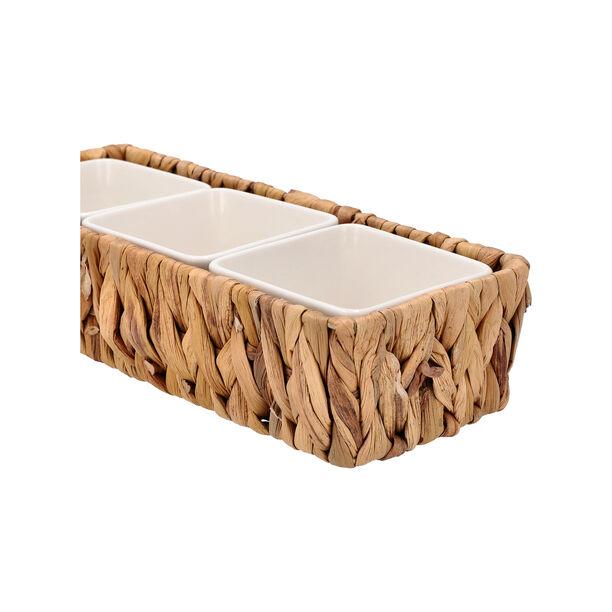3Pcs Porcelain Square Dish With Rattan Basket image number 1