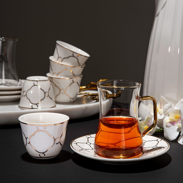 18 Pcs Porcelain Arabic Tea And Coffee Set image number 0