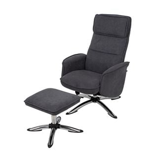 Recliner Chair With Stool Dark Grey