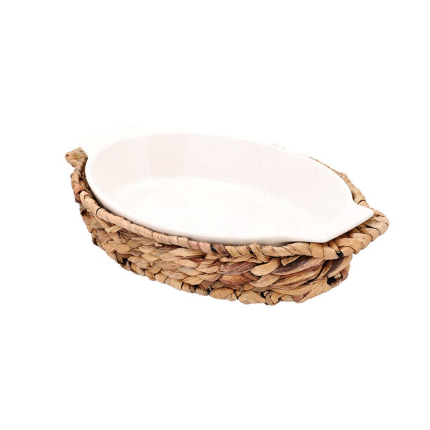 Porcelain Oval Dish With Rattan Basket image number 2