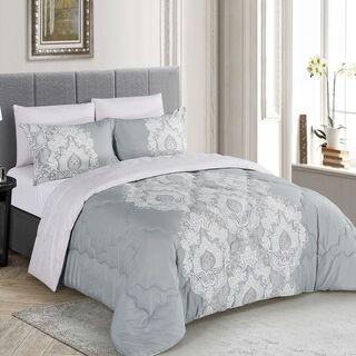 Cottage Comforter Set Single Size 3 Pieces Ciragan Grey
