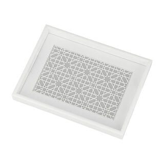 Wood Tray Pp 1Pc White Gray