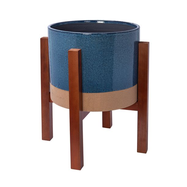 "Ceramic Blue Planter With Stand 13.5"" image number 0"