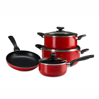 Betty Crocker Non Stick Cookware Set 7 Pieces With Glass Lid Red Color