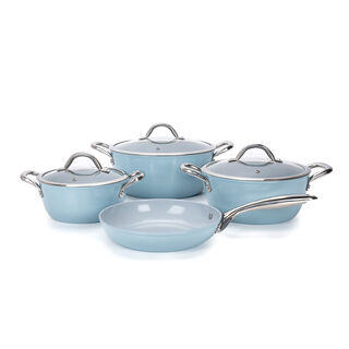 7Pcs Forged Cookware Set With Ceramic Coating Inside Grey