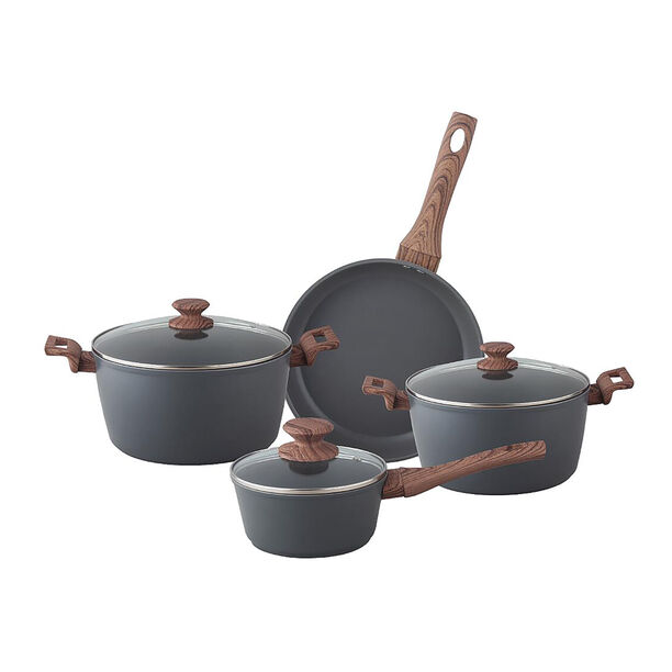 7Pcs Forged Aluminum Cookware Set With Silicone Handles  image number 1