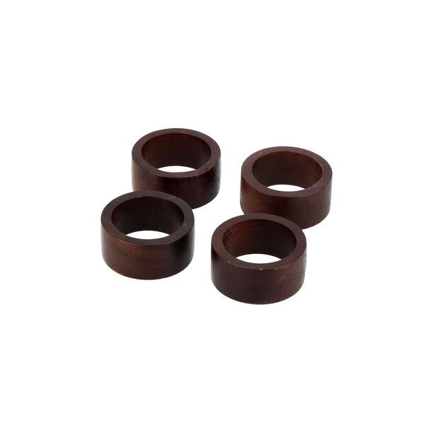 Arabesque 4 Pcs Wood Napkin Rings image number 1