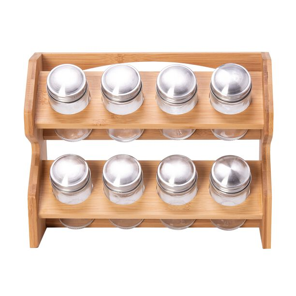 Spice Jars 8 Pieces With Bamboo Rack image number 1