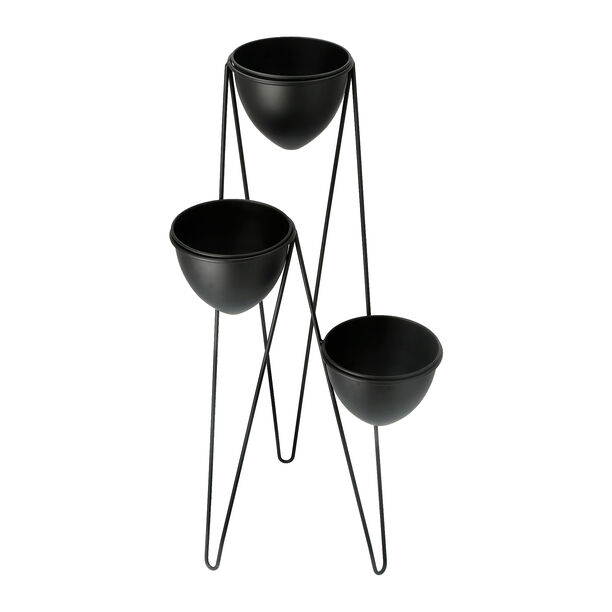 Planter Set Of 3 With Stand Metal Black image number 2