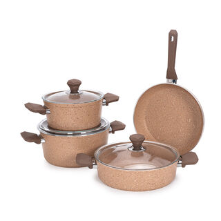 Pentola 7 Pieces Granite Cookware Set Brown