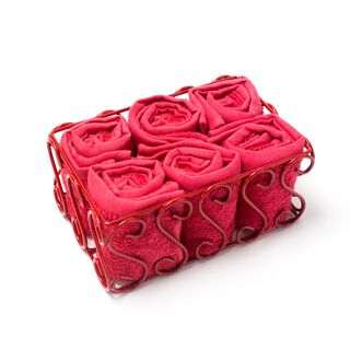 6 Pcs Cotton Face Towels Packed In Iron Basket 30X30 Cm , 27G