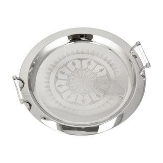 Steel Round Tray 1Pc Qamaryat Silver
