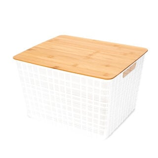 Plastic Storage Basket With Bamboo Lid 18L