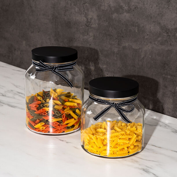 Alberto Glass Storage Jar With Metal Lid & Ribbon V:2150Ml image number 2