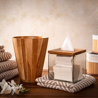 Tissue Box Wood And Glass