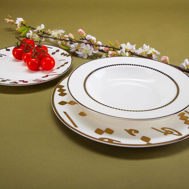 18 Pcs Porcelain DinnerSet Serve 6 Tashkeel Gold image number 0