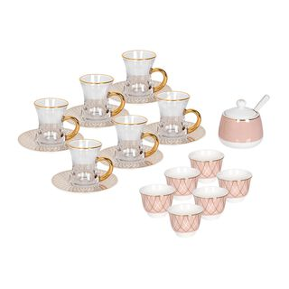 La Mesa 20 Pieces Porcelain Arabic Tea And Coffee Set