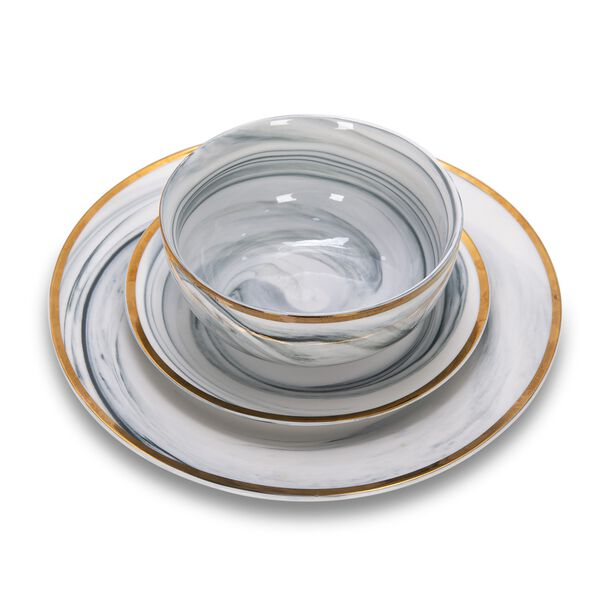 La Mesa Dinner Set 18 Pieces Grey Marble With Gold image number 1