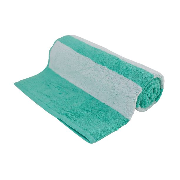 Bath Towel With Stripes Cotton Turquoise image number 0