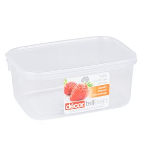 Decor Plastic Food Saver Rectangle Shape V- 1 L White Lid ( Tellfresh)