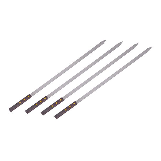 4 Pieces Steel Bbq Kewers Set With Wooden Handle image number 0