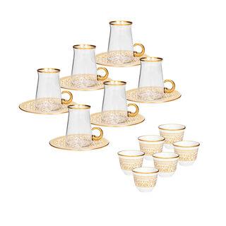 18 Pcs Tea and Arabic Kawa Set With Golden Glass Handle  (Tea Plate Glass Cup Gold Çay  )