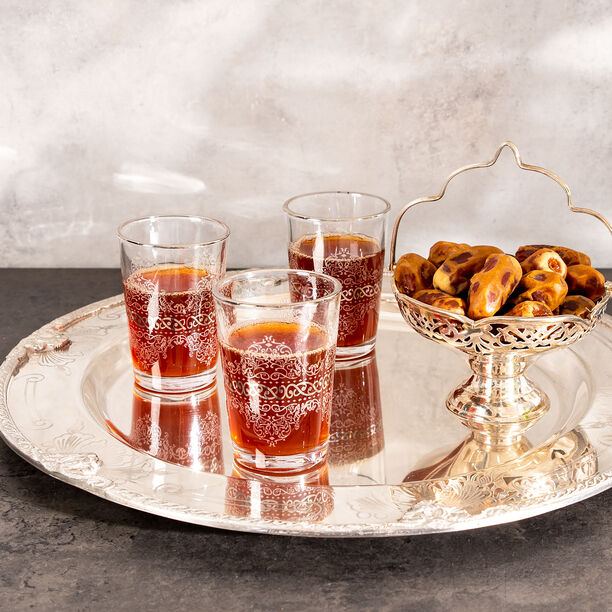 Moroccan Tea Glass 6 Pieces Silver H8.2Xt5.8X4.3 image number 2