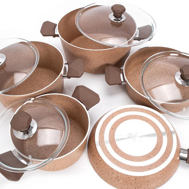 Pentola 9 Pieces Granite Cookware Set Brown image number 2