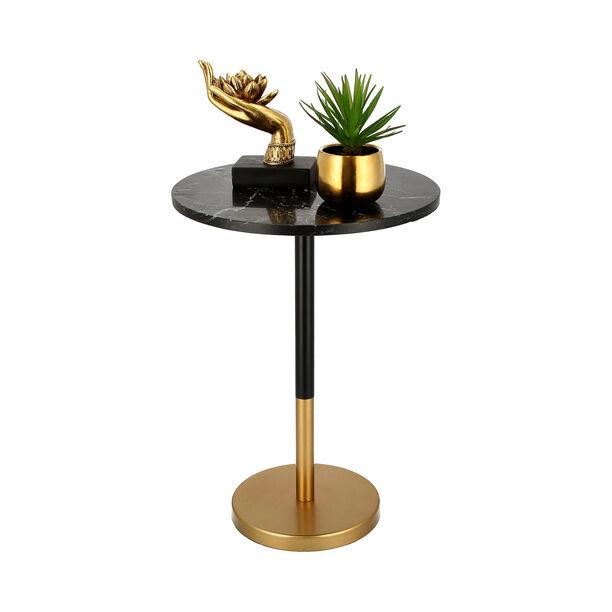 Side Table Gold Base Black Marble Top image number 2