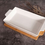 La Mesa Oven/Serving Rectangle Plate With Bamboo image number 3