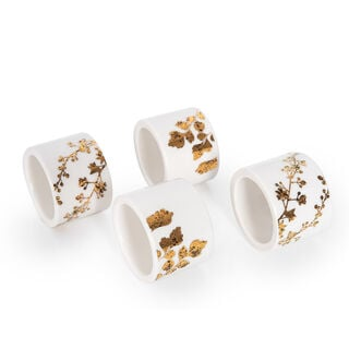 La Mesa Gold Leaf Napkin Ring 4 Pieces Set