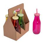 Alberto 6 Pcs Glass Milk Bottles W/ Metal Lid & Straw Asst Colors image number 1