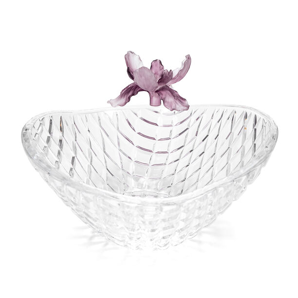 La Mesa Glass Bowl With Violet Crystal Flower 26 Cm image number 1
