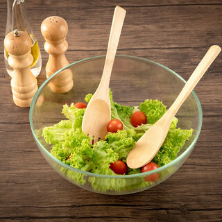 Glass Salad Bowl With Two Wooden Spoons