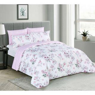 Cottage Comforter King Size Set 6 Pieces Pink