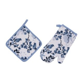 Cottage 2 Pieces Set Oven Glove + Mitten - Spring Design - Blue Color