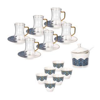 طقم شاي و قهوة عربي بورسلان 21 قطعة كحلي