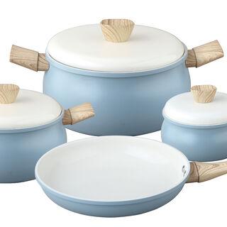 7Pcs Ceramic Cookware Set Blue