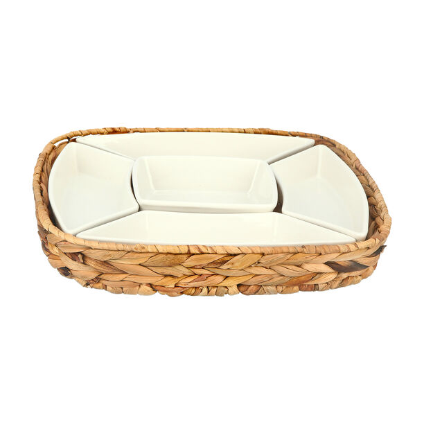 5Pcs Section Tray With Sea Grass Basket image number 1