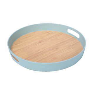 Fiber Bamboo Round Serving Tray Dia:38Cm Blue Color