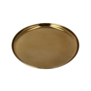 Lamesa 1Pc Steel Circular Tray Aqua Gold 35Cm