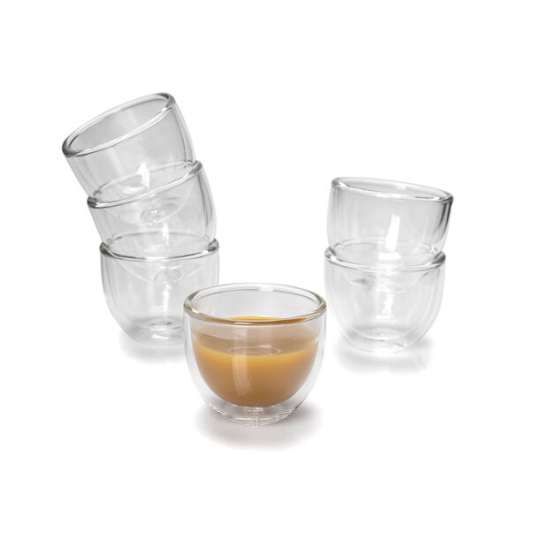 6 Pcs Double Wall Cawa Borosilicate Glass Cup Plain No Design image number 1