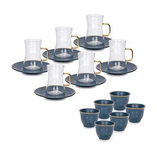 طقم كاسات قهوة مع شاي 18 قطعة