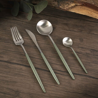 Rio 16 Pieces Modern Cutlery Set Silver And Green Handle