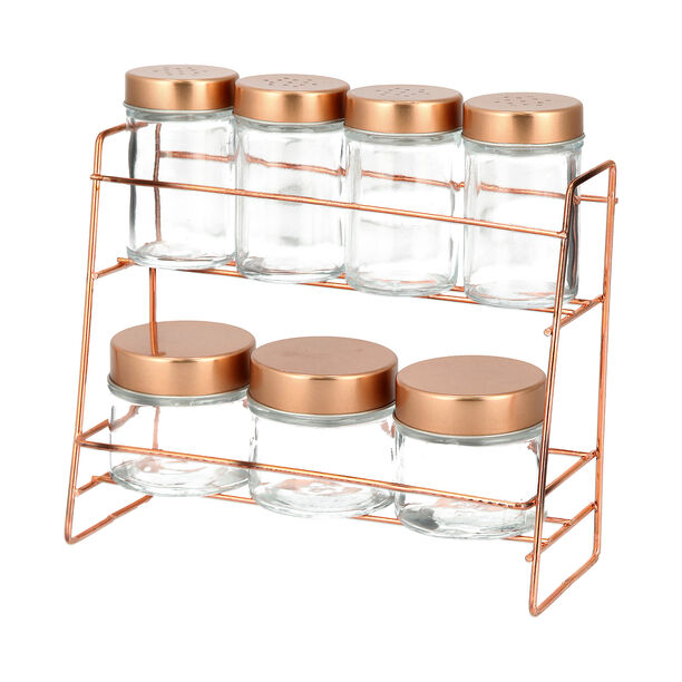Alberto 7 Pieces Glass Spice Jars With Copper Clip Lid And Metal Stand image number 0