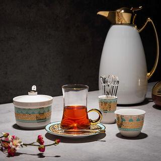 28Pc Arabic Tea And Coffee set Porcelain Fairuz Green