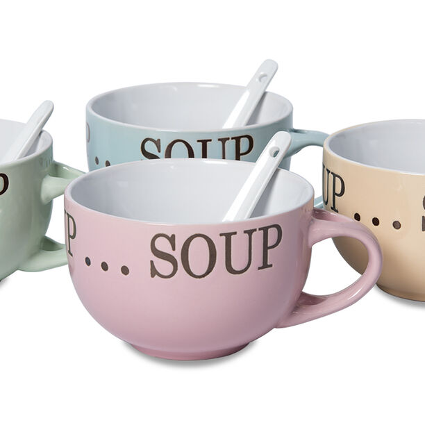 Soup Mugs Set 4Pcs Mix Colors image number 1