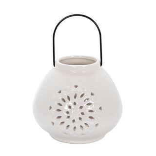 """Ceramic Candle Holder """"Casablanca"""" White"""
