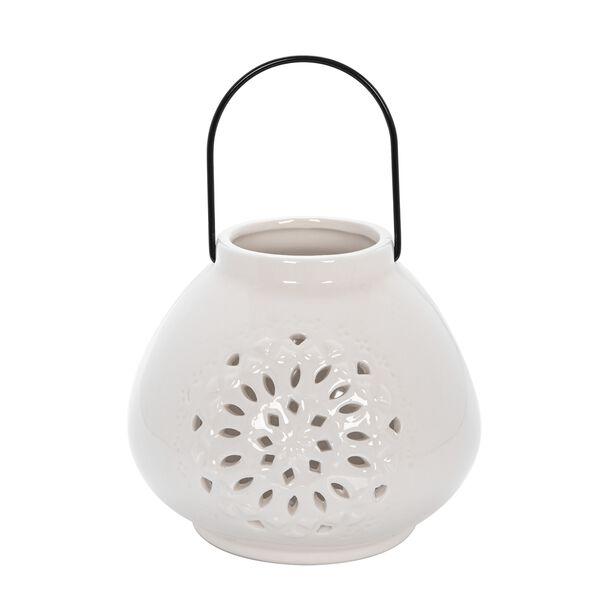 "Ceramic Candle Holder ""Casablanca"" White image number 0"